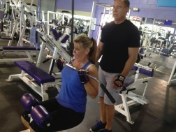In the MAX gym in Vero Beach with husband/trainer Tom Talley